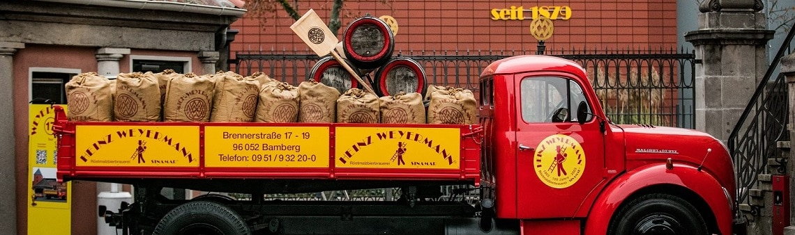 Photo of a vintage Weyermann malt truck representing the frequently asked question that they send out on social media every Tuesday